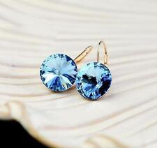 18K GP Gold Plated  Crystal  Light Blue Circular Earrings E089