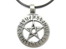 Tetragrammaton Pentagram Pewter Charm Pendant Amulet & Pvc Choker Necklace Wicca