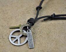PN115 Black Leather Surfer Beach Vintage Choker Necklace Multi Pendants PEACE