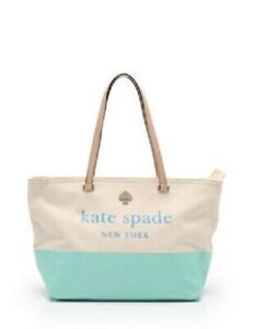 KATE SPADE New York Leather Cotton Tote Bag Mint / Beige