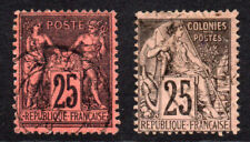France Two 25 Cent Stamps c1877-90 Used (3930)