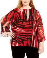 Calvin Klein Womens 3/4 Sleeve Printed Keyhole Top Blouse Plus Size 1X NWT