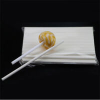 100 Pcs White Pop Sucker Chocolate Cake Lollipop Lolly Candy Making Paper Sticks