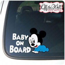 """Baby Mickey """"BABY ON BOARD"""" Sign Vinyl Car Decal"""