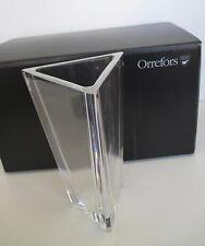 "ORREFORS SWEDEN  CRYSTAL TRIANGLE VASE CLEAR RARE ITEM NEW IN BOX 8 5/8"" TALL"