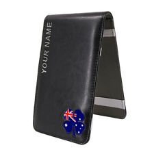 Golf Scorecard Yardage Book Customized Holder Cover Lucky Clover Flag Leather
