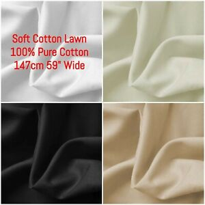 """100% Pure Cotton Lawn - Soft Natural - Lining & Dress - 147cm 59"""" Wide"""