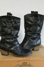 CHARCOAL DARK GREY LEATHER WESTERN COWBOY BOOTS SIZE 5 / 38 BY BARRATTS USED CON