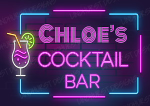 Personalised Cocktail Neon Effect Metal Bar Sign Plaque Home Pub 80s Garage Shed