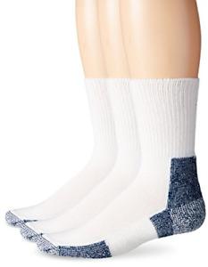Thorlos Unisex XJ Running Thick Padded Crew Sock, White 3 Pack, Large