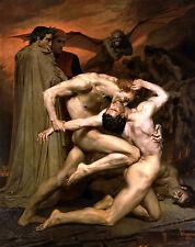 Dante & Vergil in Hell by William Bouguereau Große A3 Größe Bild Poster Druck