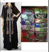 Black Bohemian Kaftan Lace dress Arabian Abaya maternity plus size Eid S to XXXL