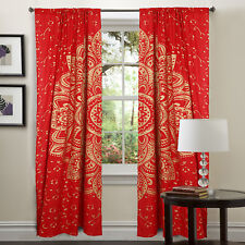 Mandala Red Gold Wall Hanging Tapestry Window Treatment Curtain Door Valance