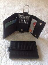 Alligator Embossed Leather - BLACK - KEY Case Wallet Purse Credit Card Holder