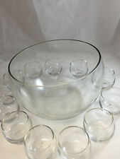 punch bowl roly poly tumblers Blenko West Virginia Glass MCM vtg clear