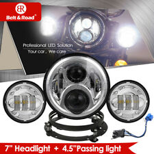 """7"""" LED Projector Headlamp With Bracket & 2x4.5 inch Fog Lamps For Harley 2018"""