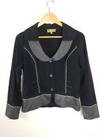 Vers Cropped Black Double Collar Jacket Women's Size 8 Grey Stripe Trim Funky