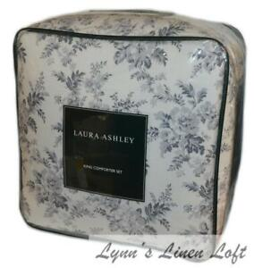 LAURA ASHLEY Annalise Grey Floral Toile 3P KING COMFORTER SET NEW COTTON
