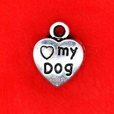 6 X tibetano plata corazón Amor Mi Perro pata encontrar Molduras la fabricación de joyas