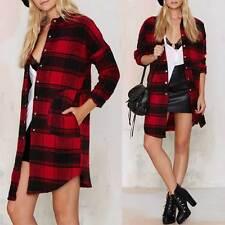 Classic Women Plaids Checks Shirt Red Black Lapel Blouse Winter Casual Tops Coat
