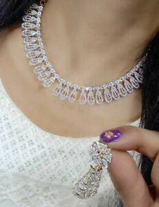 Indian Bollywood Style Fashion CZ AD Gold Plated Jewelry Choker Necklace Gift