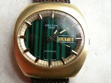 VINTAGE  GOLD PLATED   17 JEWELS   AUTOMATIC   CROTON   1878  WRIST WATCH