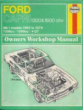 Ford Capri 1300 & 1600 ohv Mark 1 models 1969-1974 Haynes Owners Workshop Manual
