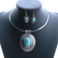 Fashion Tibet Silver Turquoise Necklace Dangle Earring Set Party Jewelry
