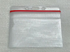 Horizontal Badge Holder Heavy Duty Vinyl, Red Zip Close Top, for ID's / Licenses