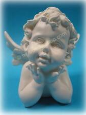 2522) Süße ENGEL Putte BÜSTE Deko Figur Naturweiss Hände am Kinn Polystone NEU