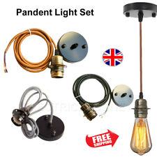 Vintage Ceiling Rose Holder Retro Light Fitting E27 Screw Bulb Pendant Lamp UK