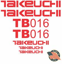 Takeuchi Tb016 Mini Excavator Decal Set Sticker