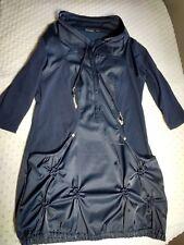 Tribal Woman's Pullover Jacket Sz S Navy Blue 3/4 Sleeve 1/4 Snap Turtle Neck