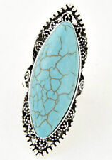 Antique Style Turquoise Green & Silver Statement Ring-Size 7