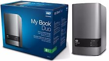 WD 8TB My Book Duo Desktop RAID External HD USB 3.0 WDBLWE0080JCH WDBFBE0080JBK