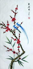 "Chinese painting on silk birds flowers Plum blossom 16x33"" feng shui brush art"