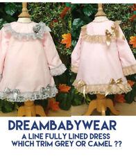 More details for dream baby girls a line lined  dress pink camel grey or reborn dolls