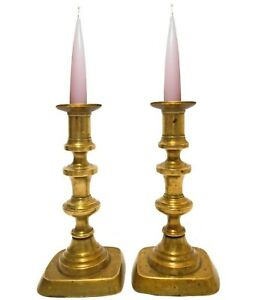 EARLY-MID 19TH C ANTIQUE PR AMERICAN BRASS PUSH-UP CANDLESTICKS W/PEDESTAL BASES