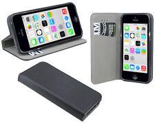 Zubehör Hülle Flip-Cover für iPohne 5C Tasche Schale wie ein Buch // Schwarz