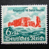 Germany Nazi 1940 Stamp MINT Rocky Cliffs of Heligoland Third Reich WWII Deutsch