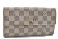 Auth Louis Vuitton Damier Azur Portefeuille Sarah Long Wallet N61735 LV B0489