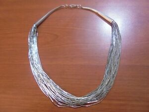"""Native American Navajo Indian Sterling liquid silver 30 strand necklace 15.5"""""""