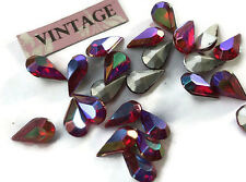 Vintage 10x6mm Pear Shape Rhinestones Ruby Aurora Teardrop Shape Foil (1215R)