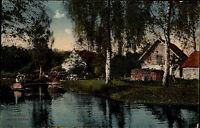 Spreewald Brandenburg s/w Postkarte ~1910 Partie an der Kanno Mühle ungelaufen