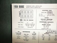 1958 Dodge Coronet, Royal & Sierra 325 350 V8 SUN Tune Up Chart Great Condition