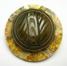 Carved Bakelite Brooch Pin Vintage Fancy Brown Loden Button