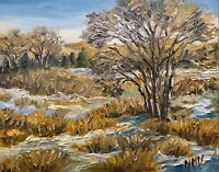 Original Oil Landscape Winter Tree Art  Gold Blue Rural Painting Small 8x10