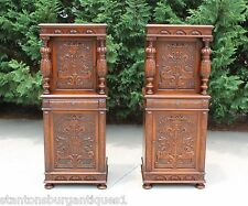 Incredible Matched Pair Highly Carved Walnut Jacobean Side Cabinets Cupboards