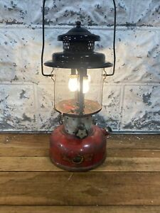 1964 Sears Double Mantle Lantern Model 7114 Red And Black  Dated 7/64 476.74060