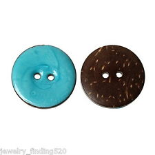 10PCs Enamel Lightblue Coconut Shell Buttons Fit Sewing and Scrapbook 25mm